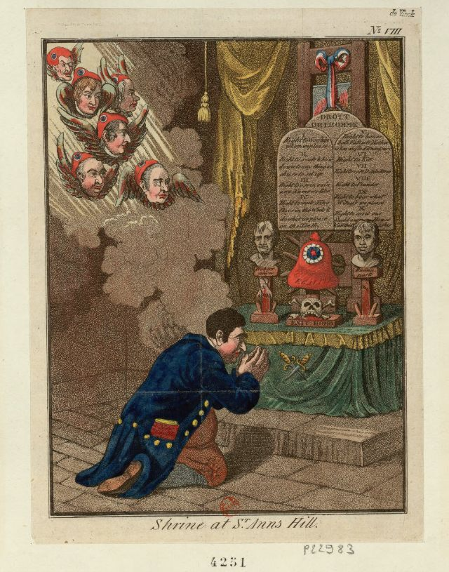 Praying to the shrine at St. Anns Hill, illustrated by James Gillray (1798) (via French Revolution Digital Archive)