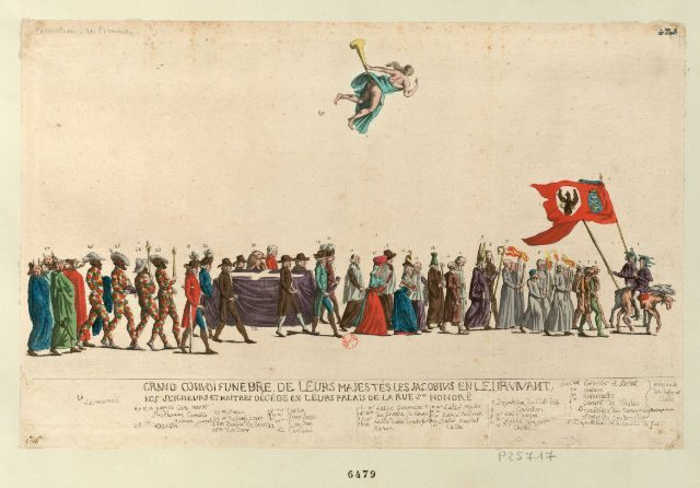 Satirical funeral procession for the Jacobins (1792) (via French Revolution Digital Archive)