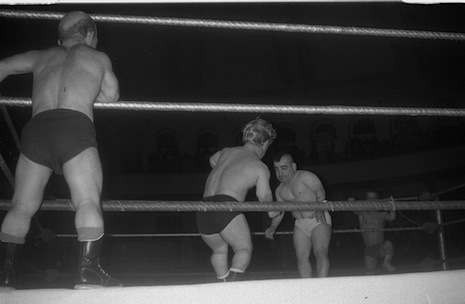 Sky Low Low (outside ring) in a tag team with Little Beaver (nearside) versus Mighty Atom, May 5, 1967.