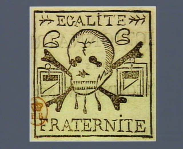 "Stam with a skull and guillotines with the words ""liberty"" and ""fraternity"" (1799) (via French Revolution Digital Archive)"