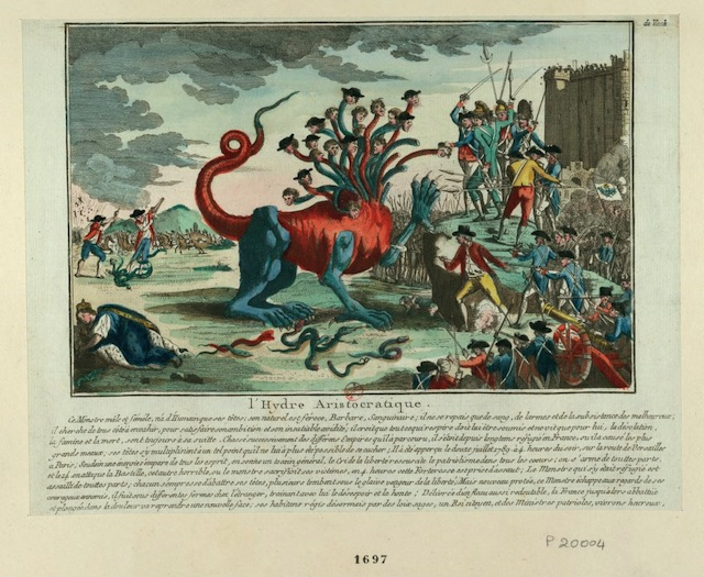 """The """"aristrocratic hydre"""" against the people, with the Guillotine in the background (1789) (via French Revolution Digital Archive)"""