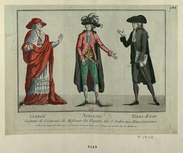 The dress of the clergy, nobility, and Third Estate (1789) (via French Revolution Digital Archive)