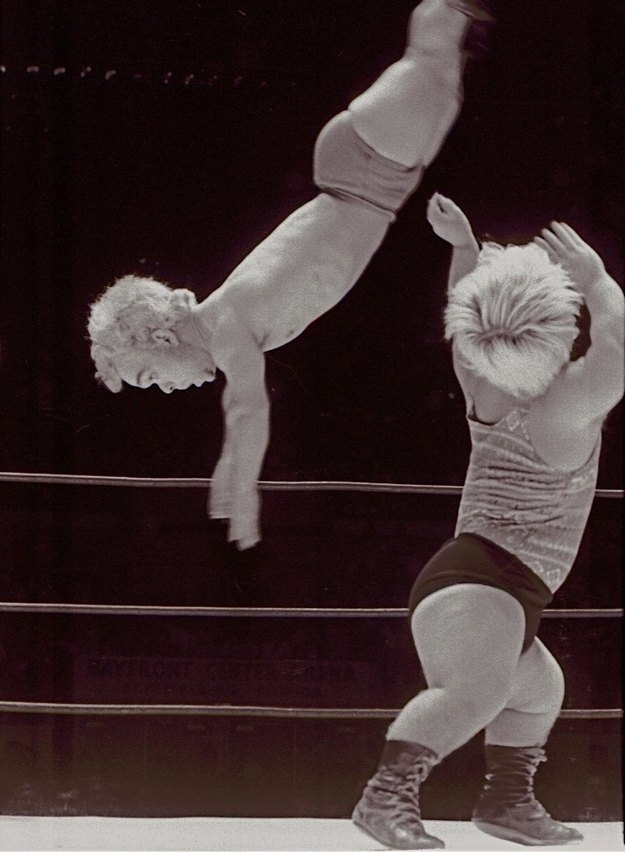 Unknown wrestler getting flipped by Little Bruiser.
