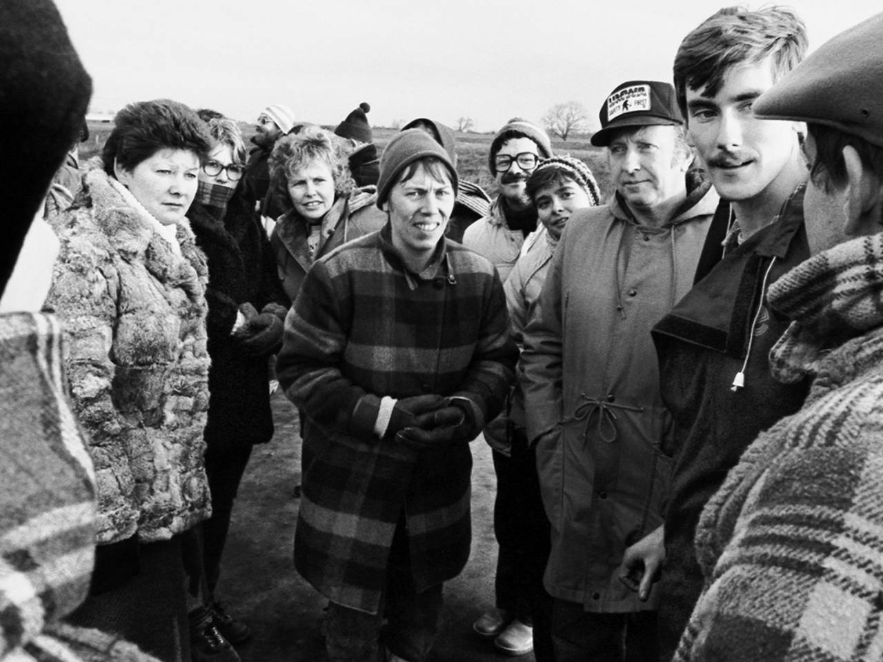Women from the WAPC picketing with NUM President Arthur Scargill on New Year's Day at the Ferrybridge coal-fired power station West Yorkshire, 1985.