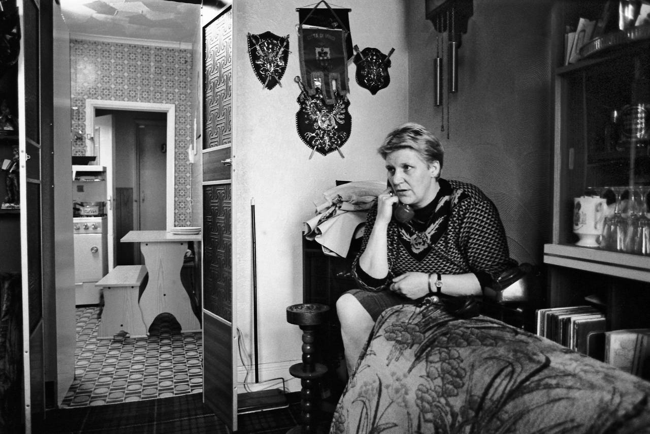 WAPC activist Marsha Marshall on the phone with actress and activist Vanessa Redgrave in Wombwell, 1985.
