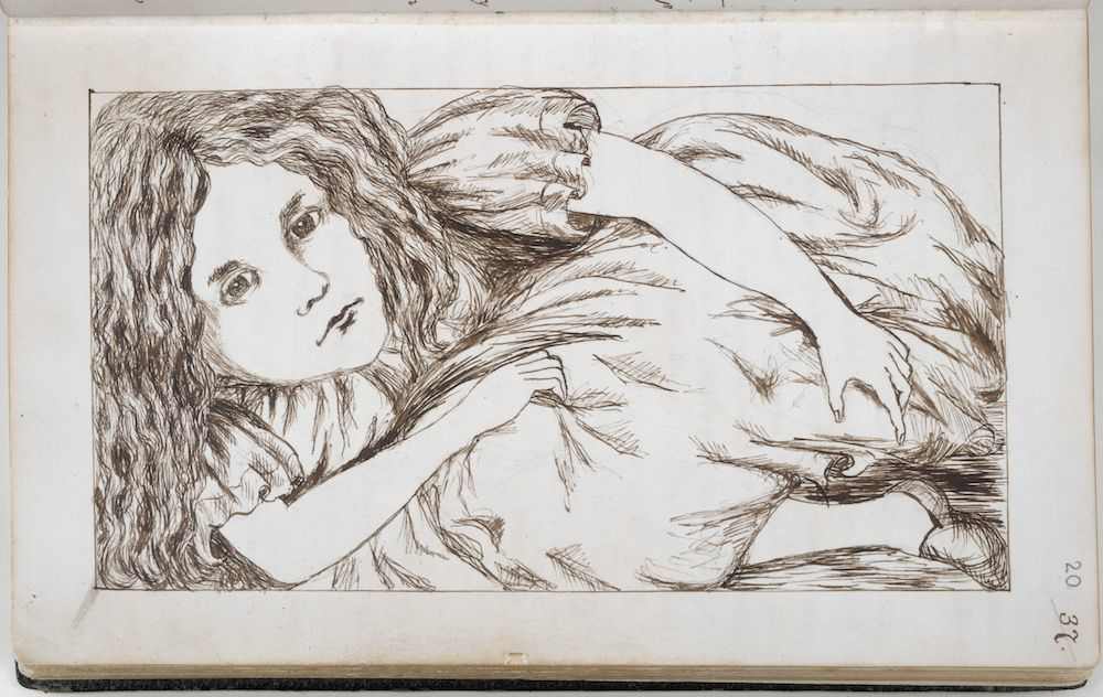 A drawing of Alice from Lewis Carroll's manuscript of Alice's Adventures Under Ground, written between 1862-64 (c) The British Library Board -