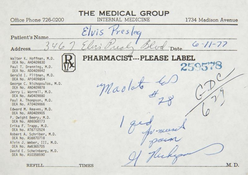 An Elvis Presley prescription for the muscle relaxer Maolate, dated June 11, 1977. The prescription was written by Dr. George Nichopoulos (Dr. Nick) on a prescription form from The Medical Group.