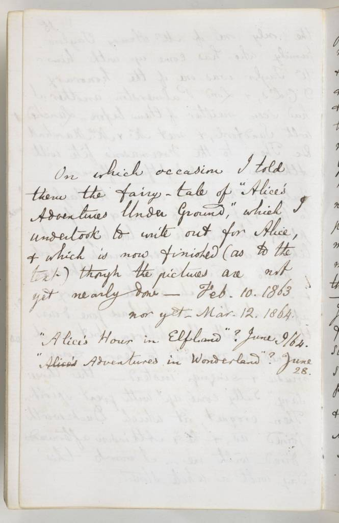 Entry from Lewis Carroll's 1862-64 diary, in which he records that he first told the fairytale of Alice's Adventures Under Ground to Alice Liddell & her sisters (c) British Library