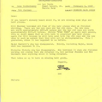 Gene Roddenberry Letter: William Shatner's Wigs Are Vanishing From Star Trek Sets (1968)