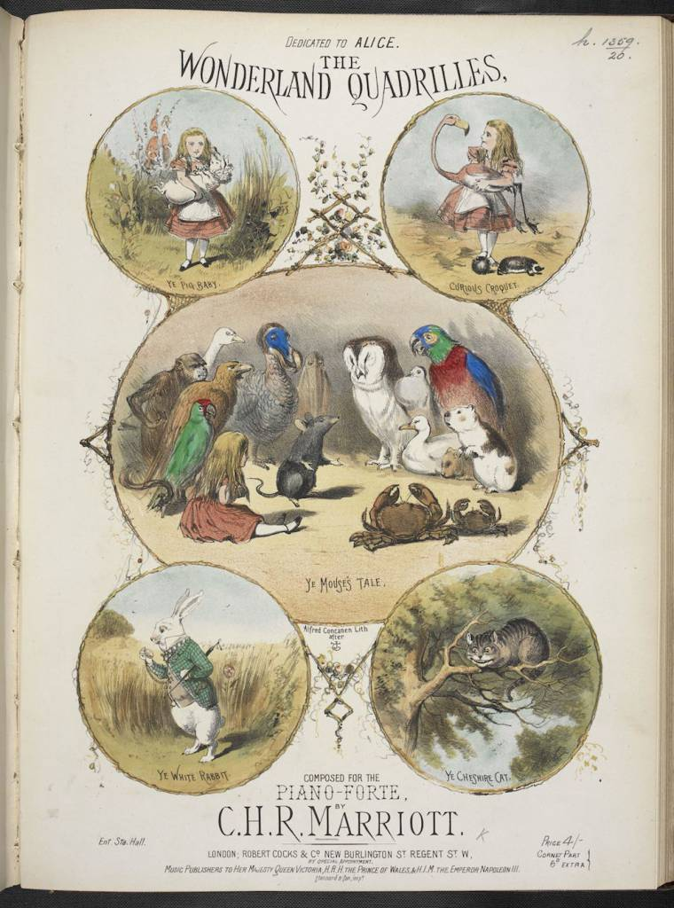 Illustrated music cover of 'The Wonderland Quadrilles…for Pianoforte' composed by Charles Marriott in 1872, showing scenes from Alice's Adventures in Wonderland (c) British Library