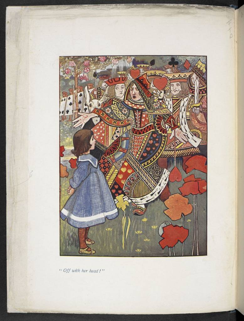 An illustration of Alice with the Red Queen from an illustrated edition of Alice's Adventures in Wonderland by Charles Robinson (1907) (c) The British Library Board - See more at: http://www.bl.uk/press-releases/2015/november/alice-in-wonderland-exhibition-opens-at-the-british-library-to-mark-150th-anniversary-of-publication?