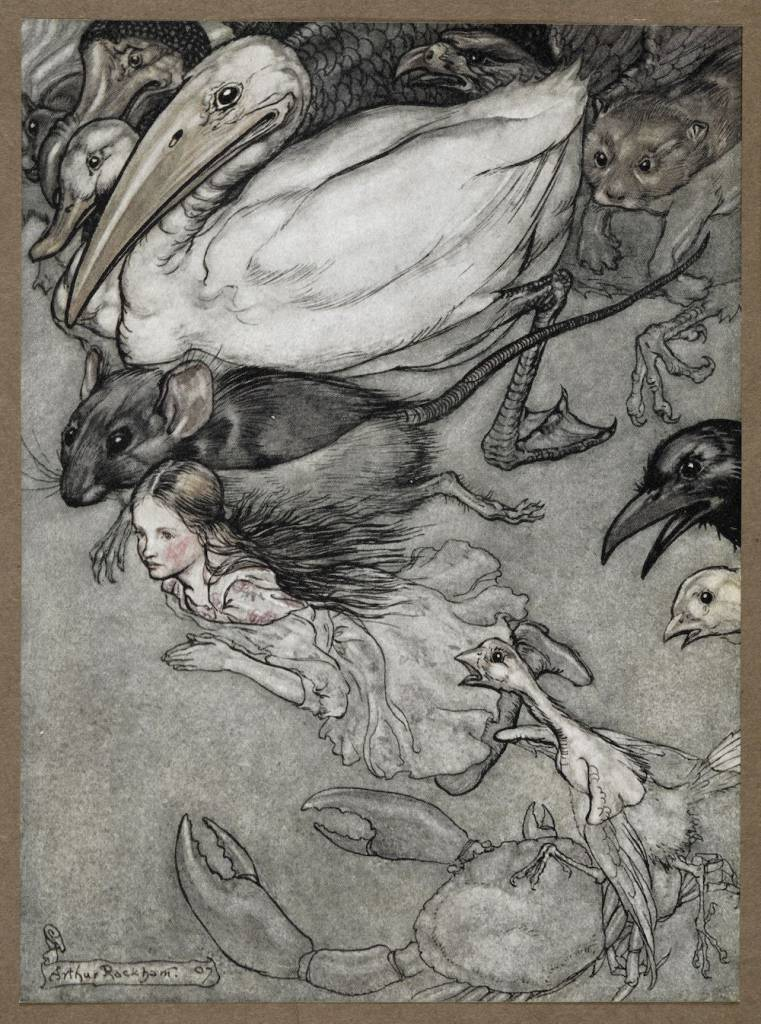 Illustration of Alice from the Arthur Rackham illustrated edition of Alice's Adventures in Wonderland (1907) (c) The British Library Board