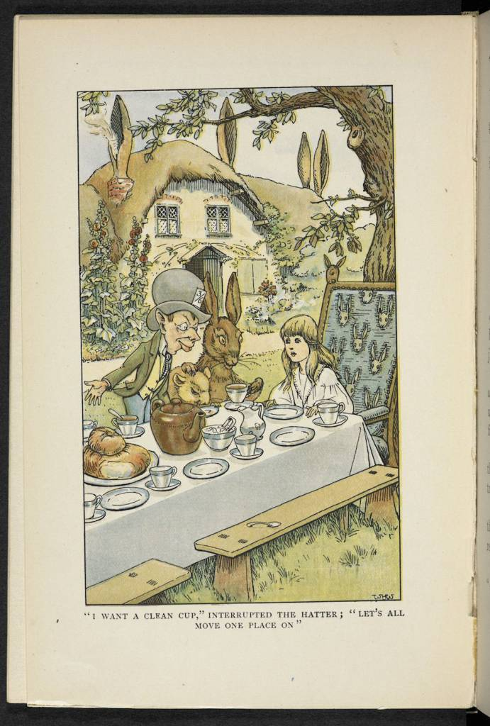 An illustration of Alice at the Hatter's tea party from W.H. Walker's illustrated edition of Alice's Adventures in Wonderland by Lewis Carroll (1907) (c) The British Library Board -