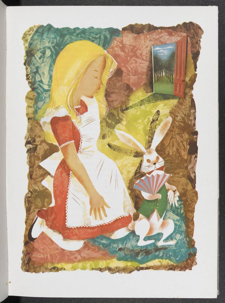 An illustration of Alice with the White Rabbit from an illustrated edition of Alice's Adventures in Wonderland by Leonard Weisgard (1949) © The Estate of Leonard Weisgard - See more at: http://www.bl.uk/press-releases/2015/november/alice-in-wonderland-e