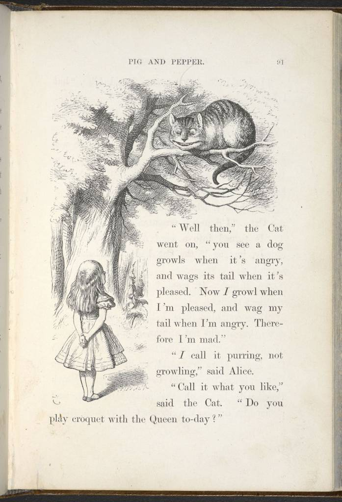 Sir John Tenniel's illustration of Alice and the Cheshire Cat from the 1866 edition of Alice's Adventures in Wonderland by Lewis Carroll (c) The British Library Board