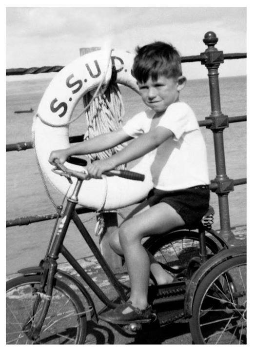 Keith aged 4 at Southend-On-Sea, Essex, on a family holiday.