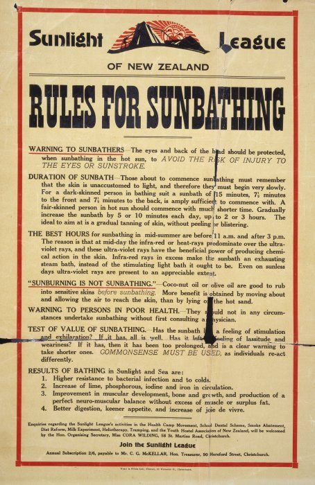 Sunlight League of New Zealand :Rules for sunbathing. [1930-1936].