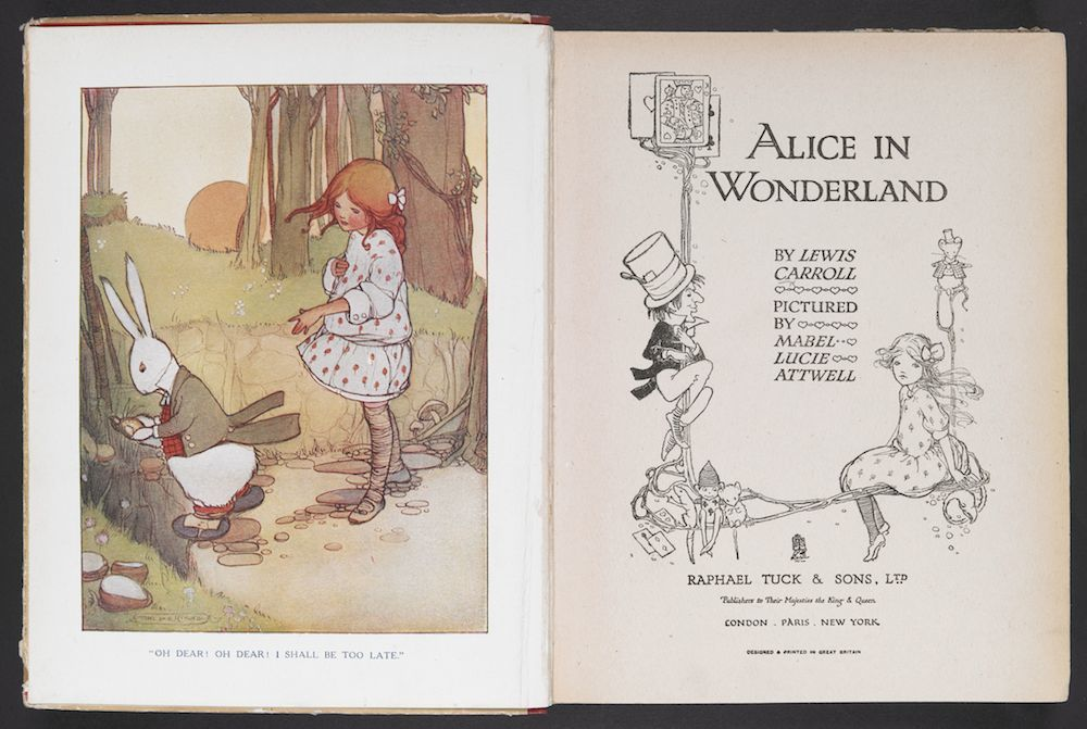 title-page-alice-in-wonderland-pictured-by-mabel-lucie-attwell - Flashbak  showing how Mabel Lucie Attwell's Alice looked. Long hair slightly untied, a floppy bow, thick sensible leggings and a white dress with roses upon it.