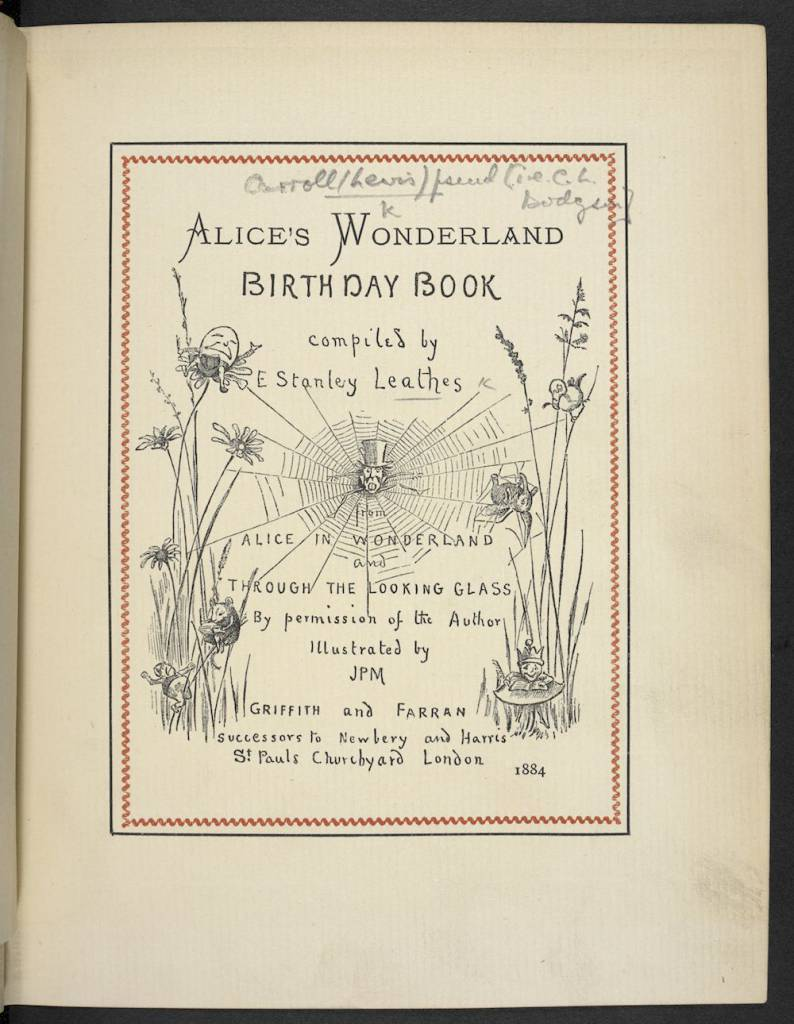 The 1884 title page of Alice's Wonderland Birthday Book, compiled by E. Stanley Leathes and illustrated by J.P.M. (c) The British Library Board