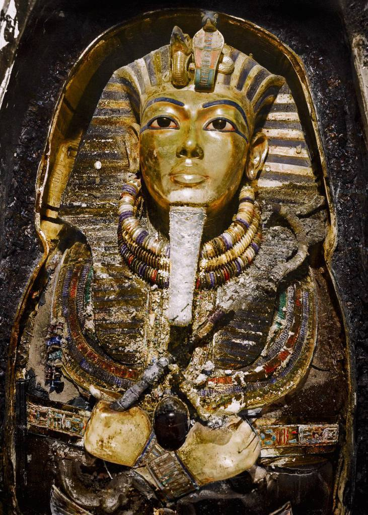 November 1925 Tutankhamun's burial mask.
