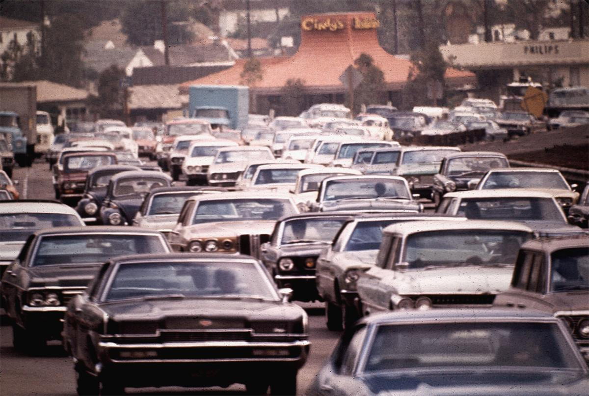 A crowded Hollywood freeway, seen in California in May of 1972. # Gene Daniels/NARA