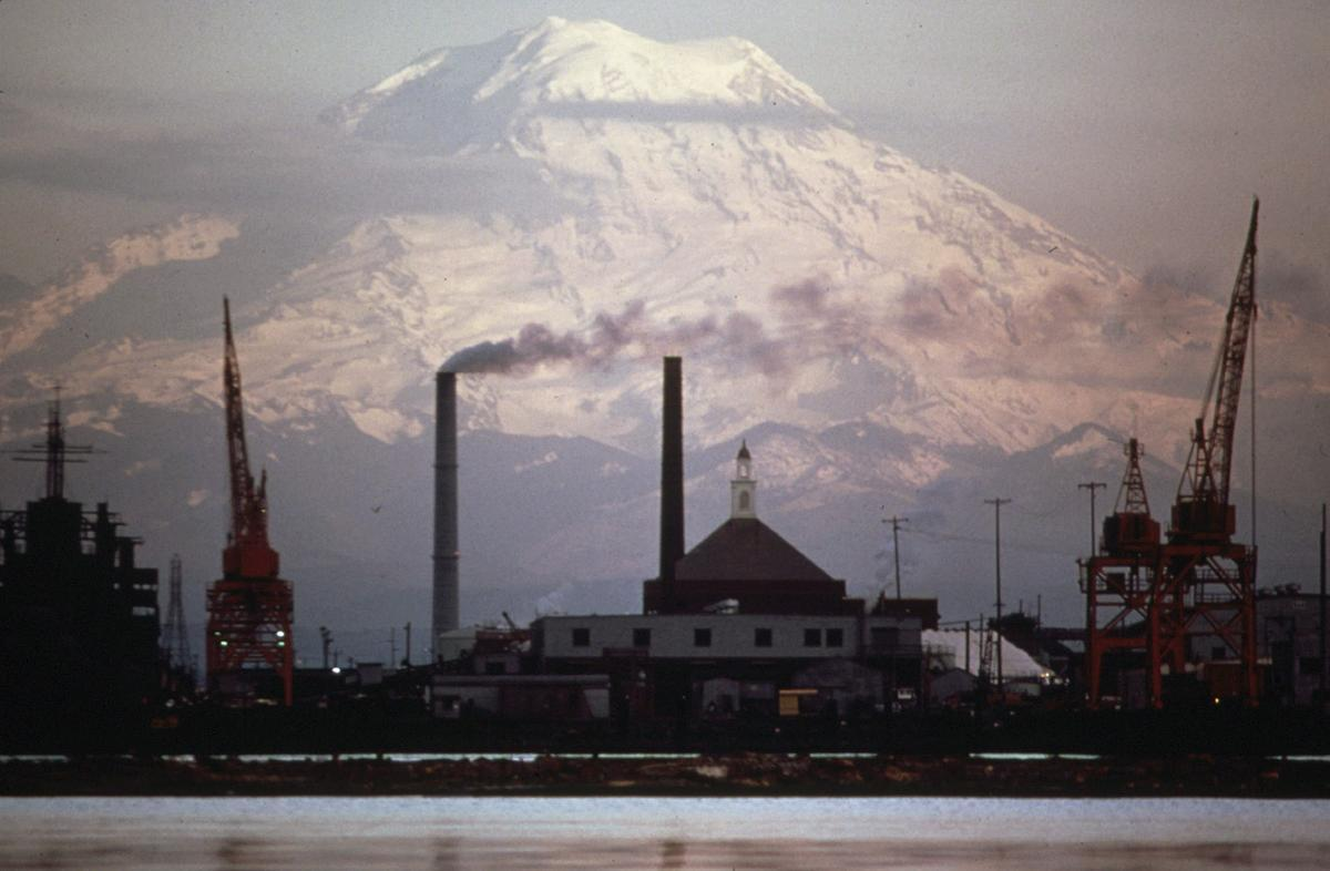 Mount Rainer and Tacoma's industrial waterfront, in Washington State in April of 1973. # Doug Wilson/NARA SHARE PHOTO