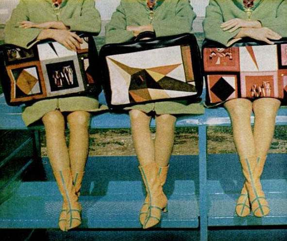 "Most airplane stewardesses are dressed as if they were traveling by bus in the year 1925,"" said Pucci in 1965. He was commissioned by Texas-based Braniff International Airline to remedy this fashion neglect. Luggage which came in six different prints (they matched the hats) Via"