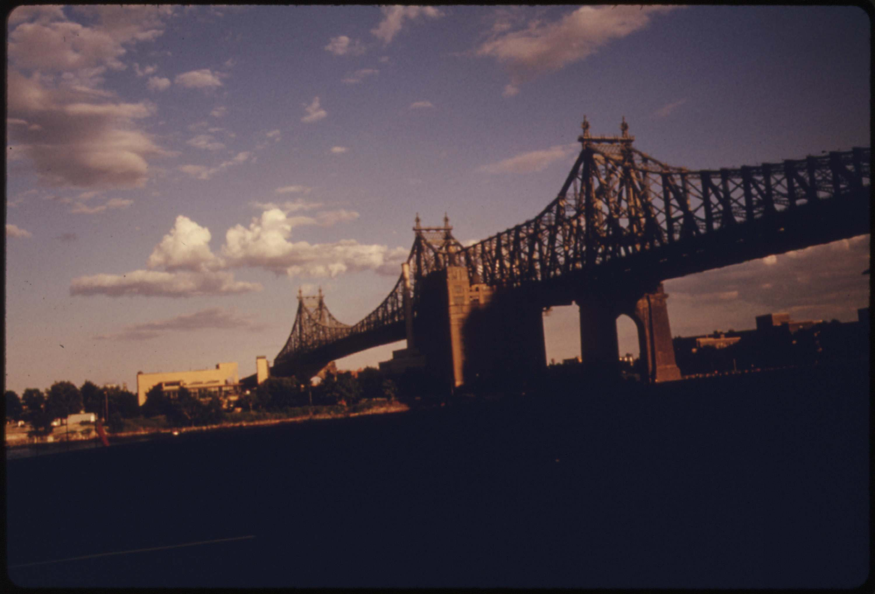 59th Street Bridge seen from the east side drive, Manhattan, August 1974.