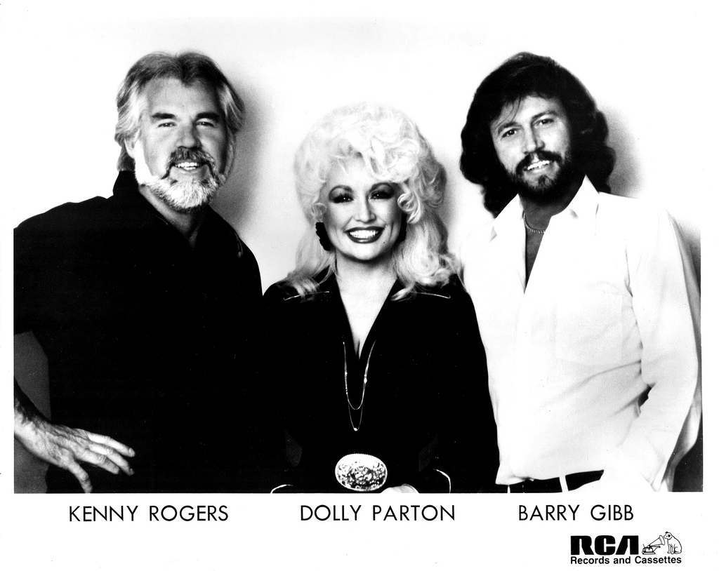 Kenny Rogers, Dolly Parton, and Barry Gibb Press photo from release of Islands In The Stream RCA Records/USA (1983)
