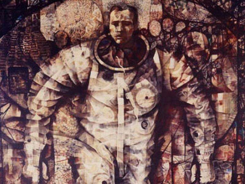 First Steps Artist: Mitchell Jamieson, 1963 Media: Acrylic, gauze, and paper on canvas Description: In a silver-colored spacesuit, astronaut Gordon Cooper steps away from his Mercury spacecraft and into the bright sunlight on the deck of the recovery ship after 22 orbits of Earth. Mitchell Jamieson documented Cooper's recovery and medical examination and accompanied him back to Cape Canaveral.