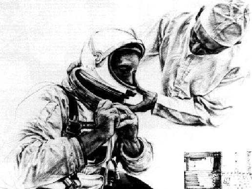 uiting Up Artist: Paul Calle, 1969 Media: Pencil sketch Description: This sketch of the Apollo 11 crew 'Suiting Up' stands as a visual record of the activities that took place on the morning of July 16th, 1969.