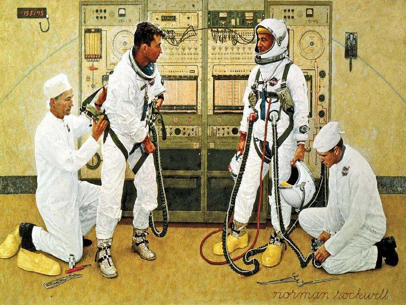 Grissom and Young Artist: Norman Rockwell, 1965 Description: Astronauts John Young and Gus Grissom are suited for the first flight of the Gemini program in March 1965. NASA loaned Norman Rockwell a Gemini spacesuit in order to make this painting as accurate as possible.