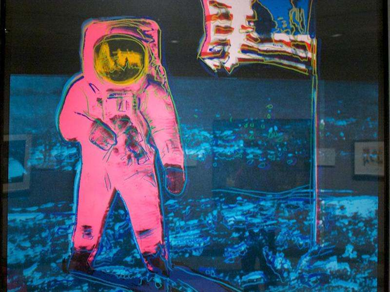 Moonwalk 1 Artist: Andy Warhol, 1987 Media: Silkscreen on paper Description: The famous image of astronaut Buzz Aldrin standing on the Moon has become an icon of popular culture. The American hero with the U.S. flag became material for Warhol's silkscreen series of nationally known images printed on vibrant, retro, poster colors.