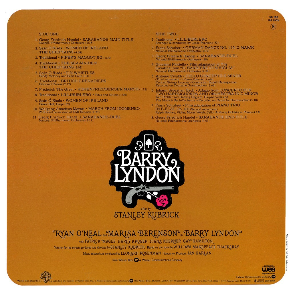 The back of the Barry Lyndon OST album