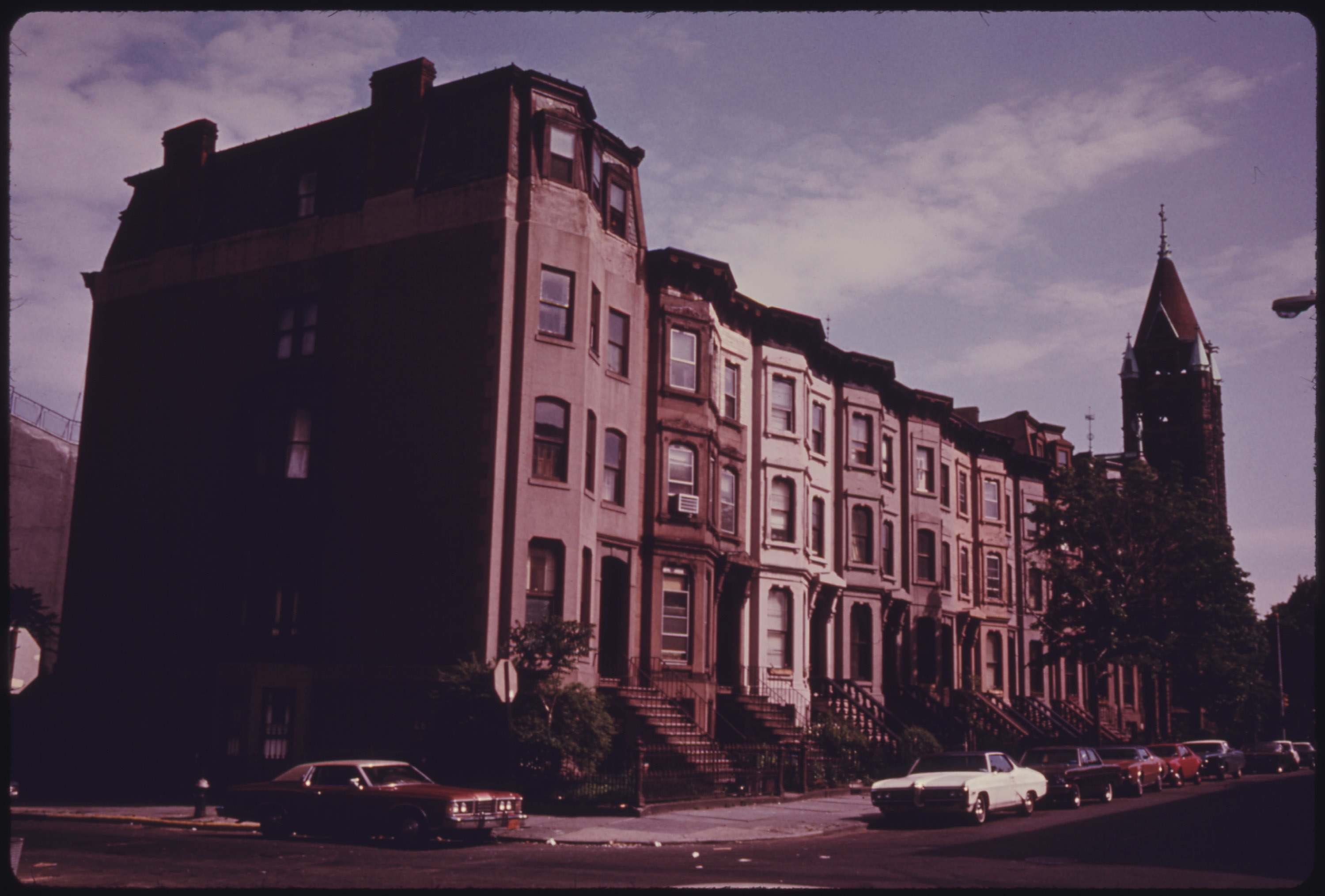 Block of brownstone residences in Park Slope of Brooklyn, June 1974.