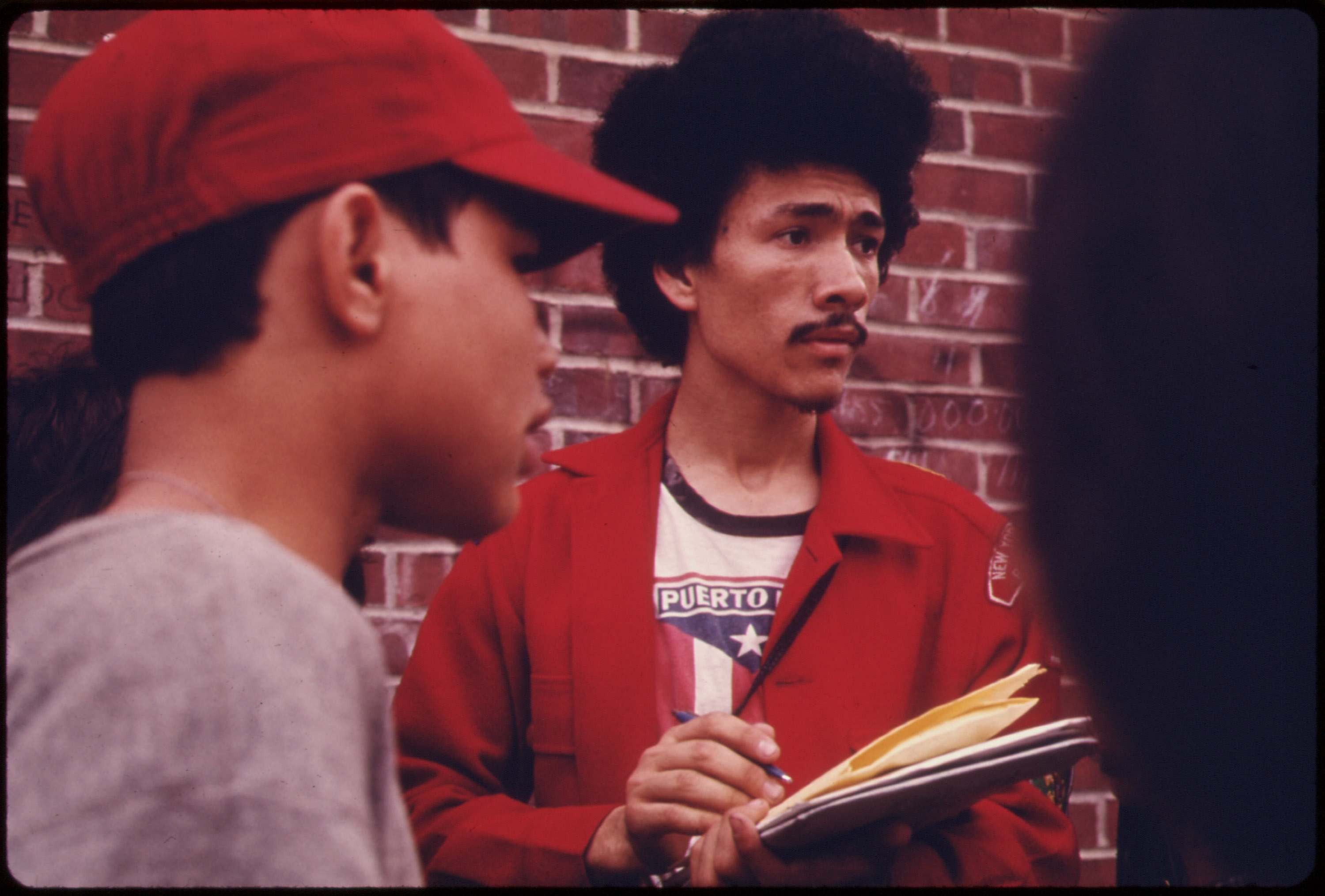 Boy scout leader recruiting among Latin Youths Bedford Stuyvesant district of Brooklyn, June 1974.