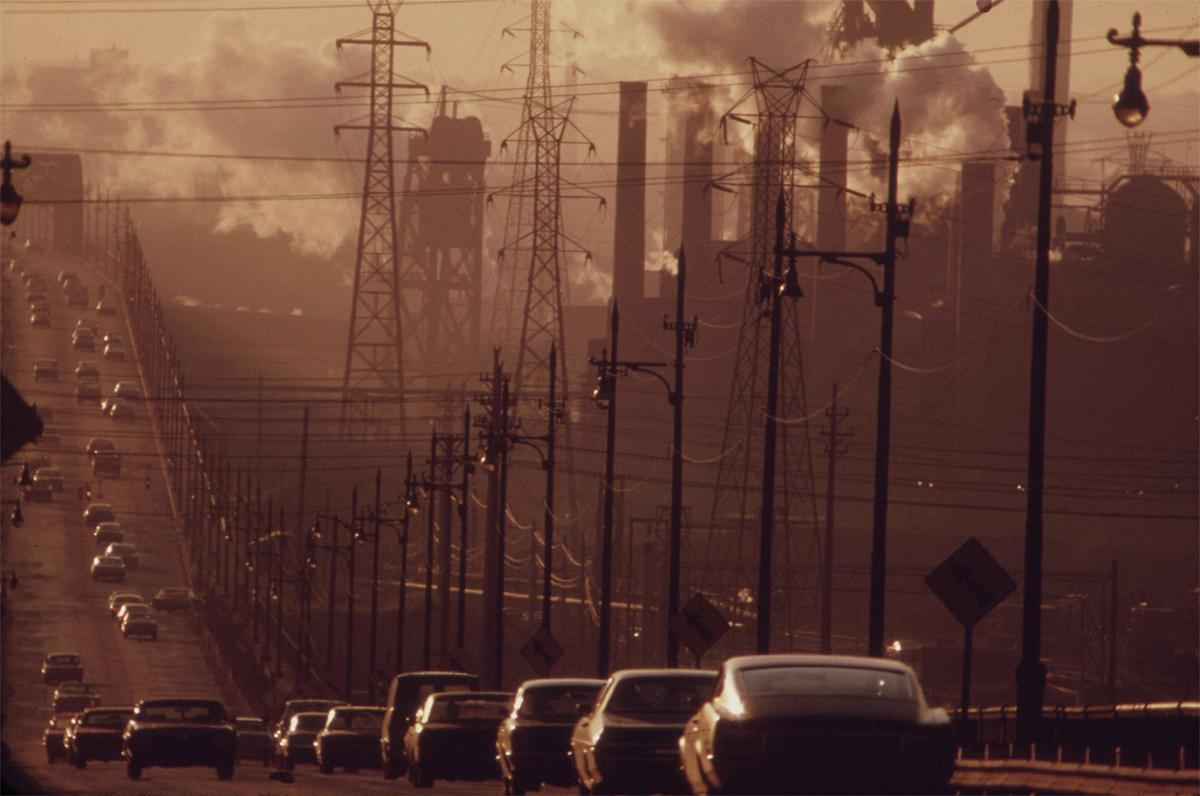 Clark Avenue and Clark Avenue bridge, looking east from West 13th Street, obscured by industrial smoke, in Cleveland, Ohio, in July of 1973. # Frank J. Aleksandrowicz:NARA