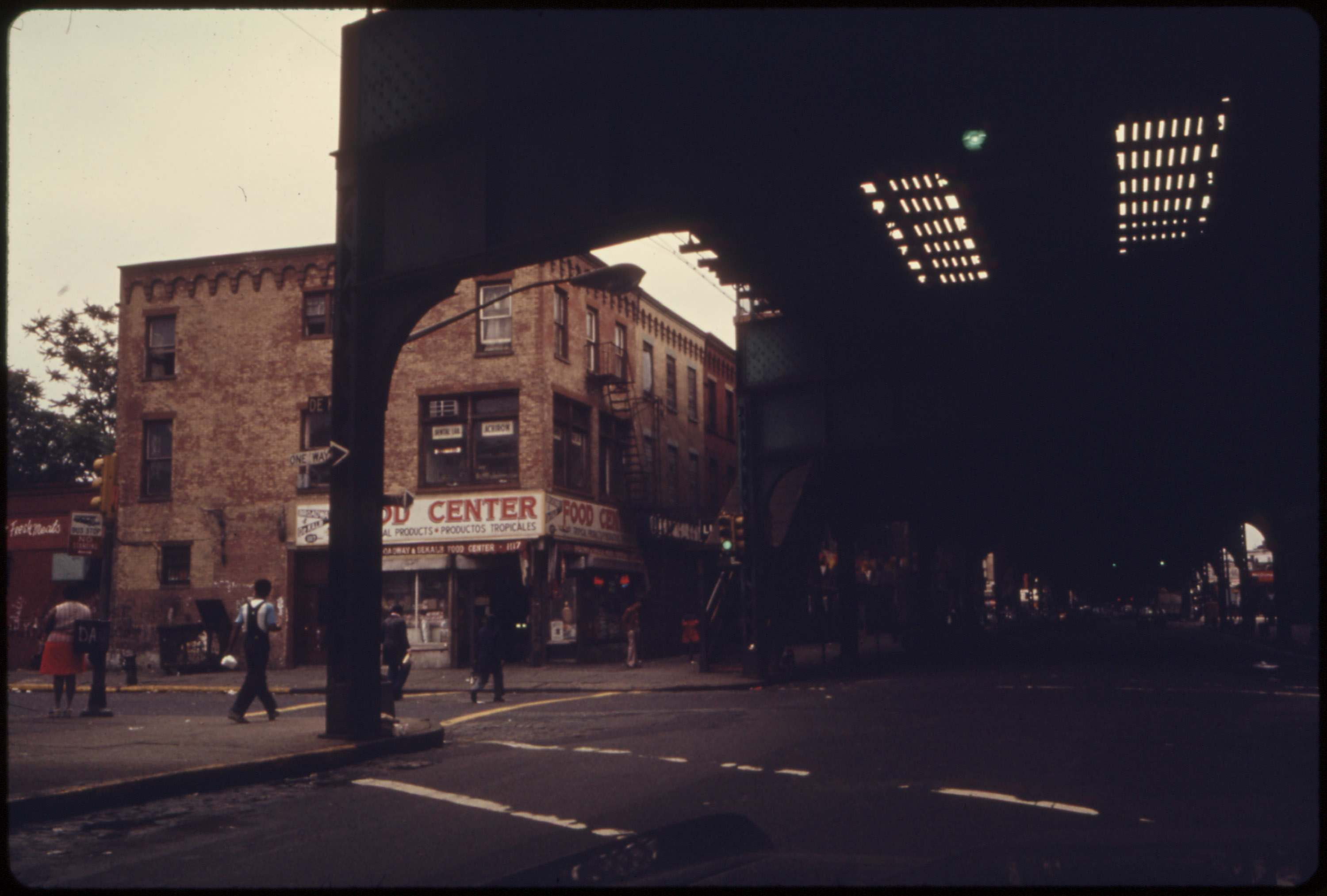 Elevated train tracks at Bushwick Avenue in Brooklyn, NYC, June 1974.