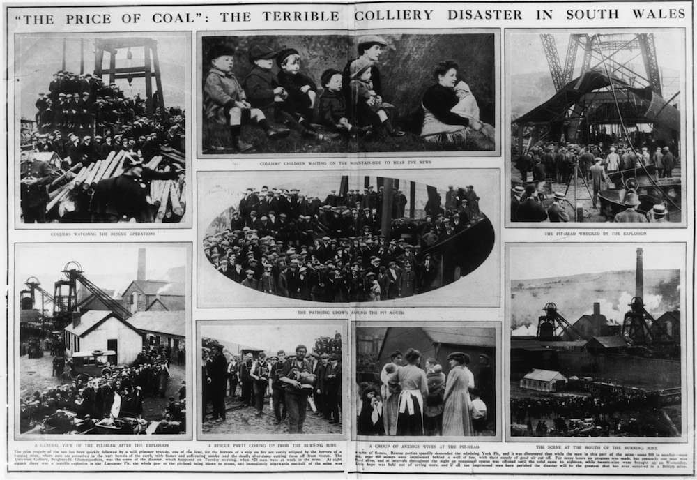 A double-page newspaper report, published 18th October 1913, on Britain's worst-ever mining disaster at the Universal Colliery at Senghenydd, Glamorganshire, South Wales. 439 miners were killed in an explosion and fire at the mine on 14th October 1913. The article includes pictures of anxious relatives waiting for news, along with views of the wrecked pit-head (top right) and a rescue party emerging from the burning mine (bottom, centre-left). (Photo by Hulton Archive/Getty Images)
