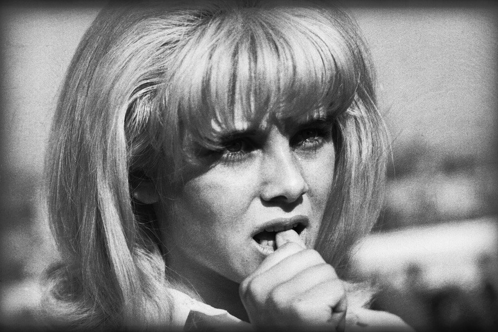 July 1962: Sue Lyon, the young actress selected to play the title role in Stanley Kubrick's 'Lolita', bites her thumb in concentration. (Photo by Michael Hardy/Express/Getty Images)
