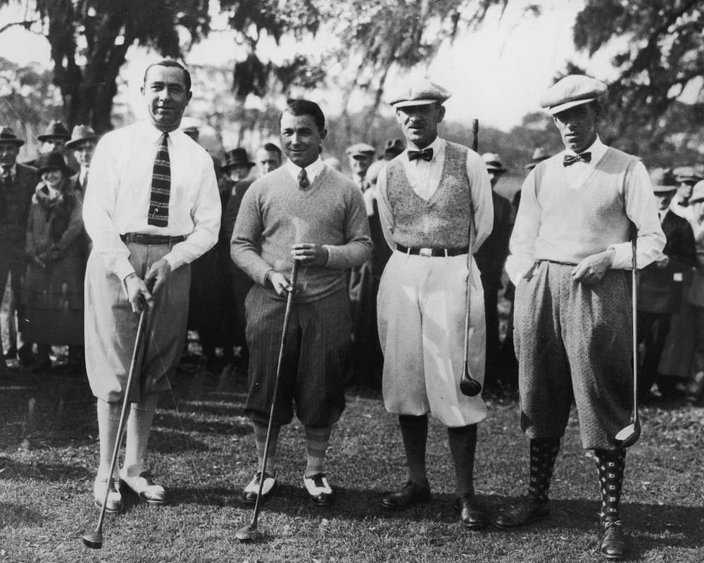 26th December 1924: From left to right, Walter Hagen (1892 - 1969) and Gene Sarazen (1902 - 1999) of the United States and Abe Mitchell and George Duncan of England, during a special international golf match at St Augustine, Florida. The Britons won by four and three. (Photo by Topical Press Agency/Getty Images)