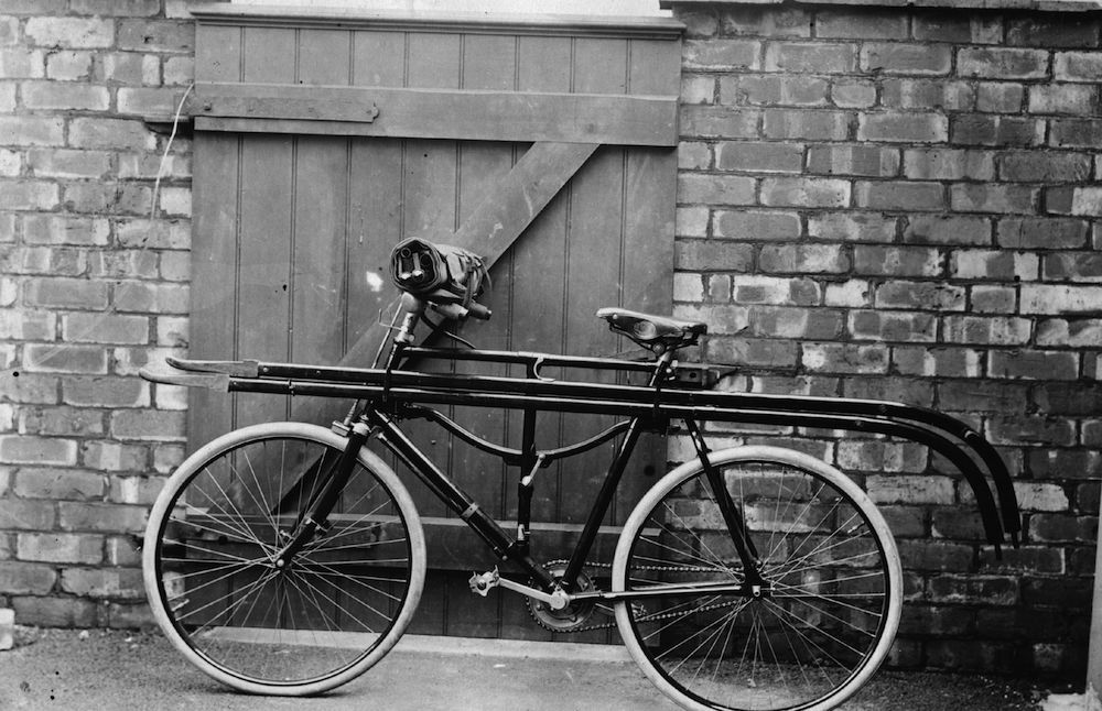 April 1908: A bicycle which contains a stretcher and is part of a school for emergency coal mining rescue. (Photo by Topical Press Agency/Getty Images)