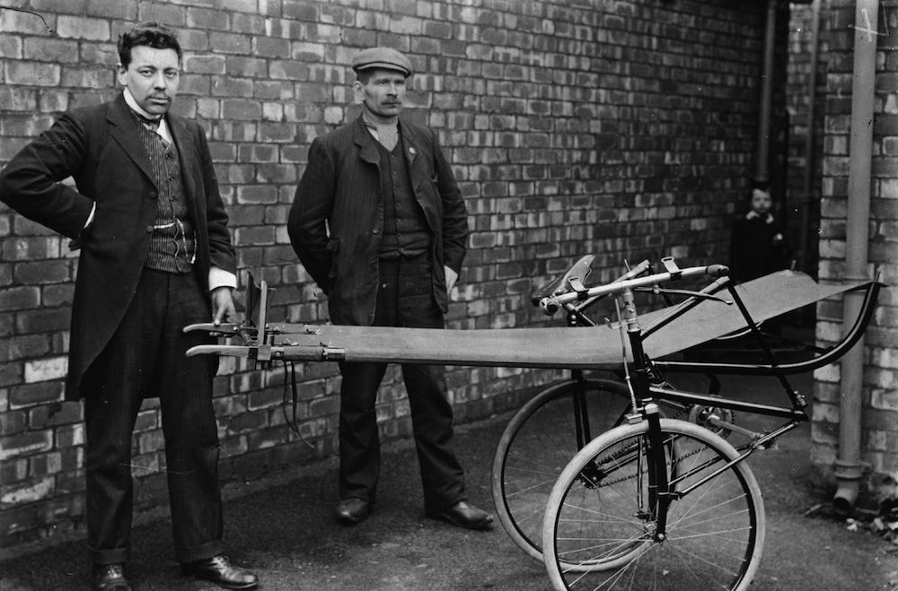 April 1908: A cycle ambulance on display at a coal mining rescue school. (Photo by Topical Press Agency/Getty Images)
