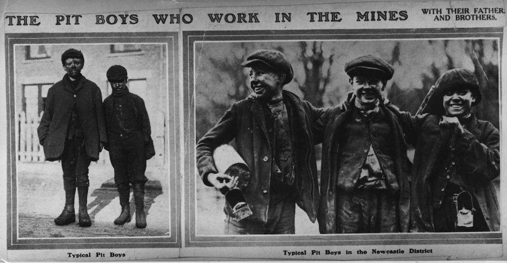 circa 1915: Coal miners from Newcastle. (Photo by Hulton Archive/Getty Images)