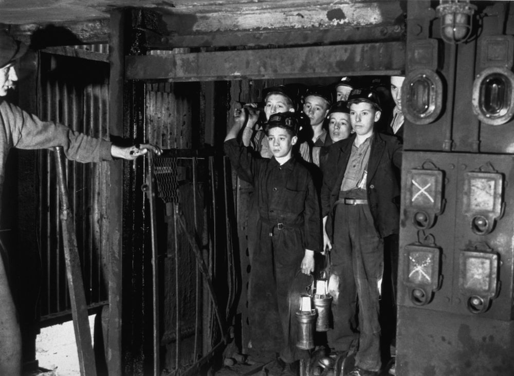 September 1943: A number of boys volunteered for the coal mines following a Government appeal, and started their training at Markham Main Colliery, near Doncaster. (Photo by Keystone/Getty Images)