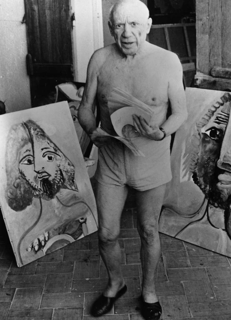 15th February 1973: Spanish artist Pablo Picasso (1881 - 1973) with some of his paintings at Mougins Cote D'Azur in the south of France. (Photo by Central Press/Getty Images)