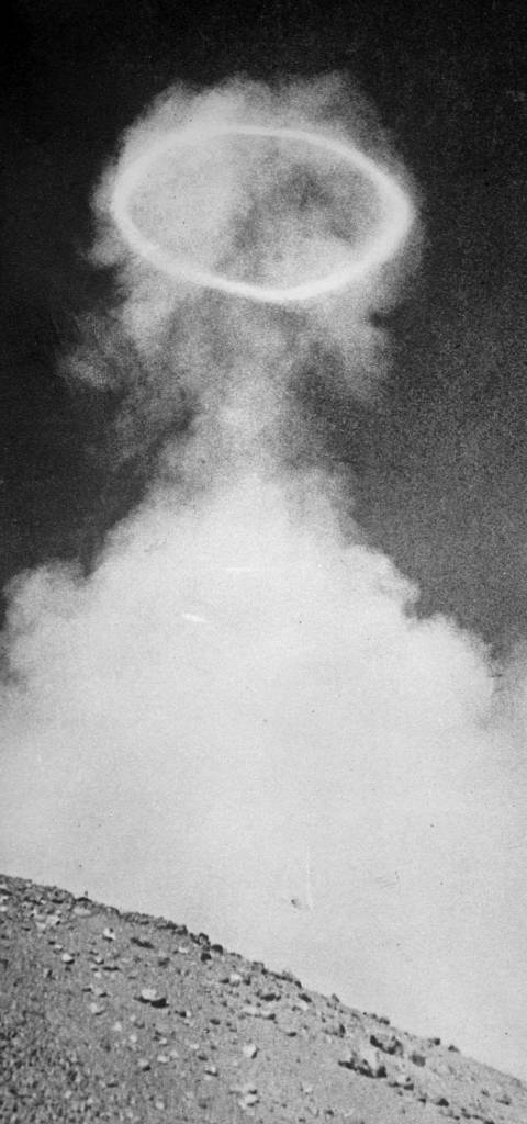 circa 1937: An emission of volcanic vapour in the shape of a perfect ring above the Italian volcano of Mount Vesuvius. (Photo by London Express/Getty Images)
