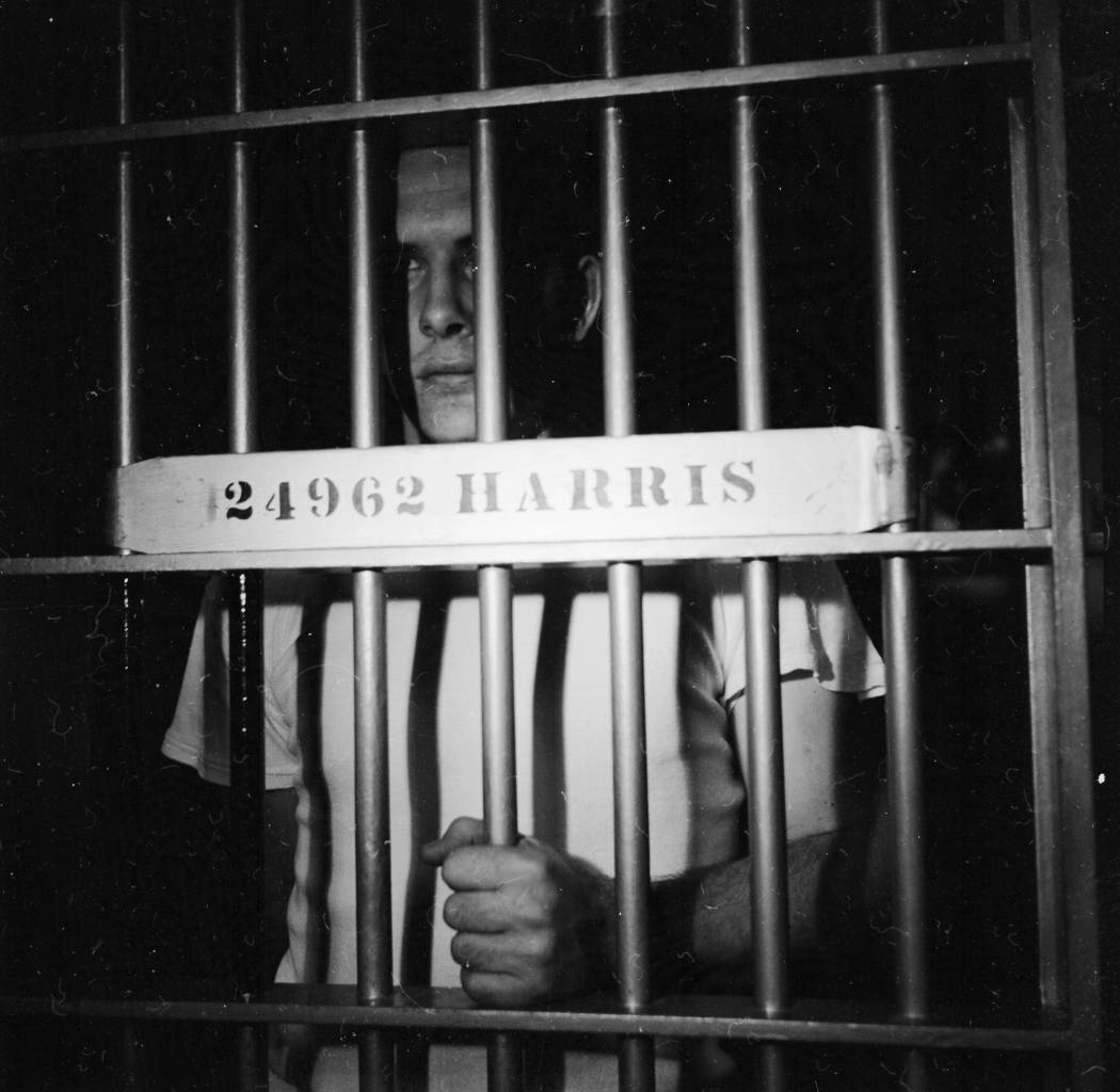 circa 1956: Prisoner Paul Harris cell at lights out in Iowa State Prison. (Photo by Three Lions/Getty Images)