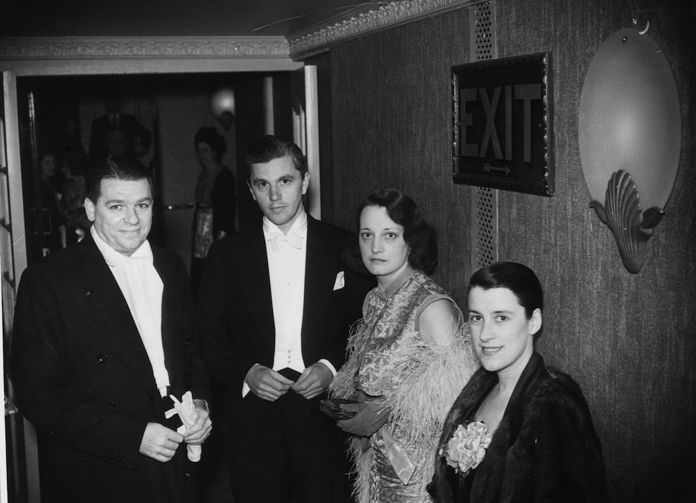 26th May 1933: Librettist and songwriter Oscar Hammerstein II, left, and Canadian revue star Beatrice Lillie, right, attending the opening night of 'Wild December' at the Apollo Theatre, London. (Photo by Sasha/Getty Images)