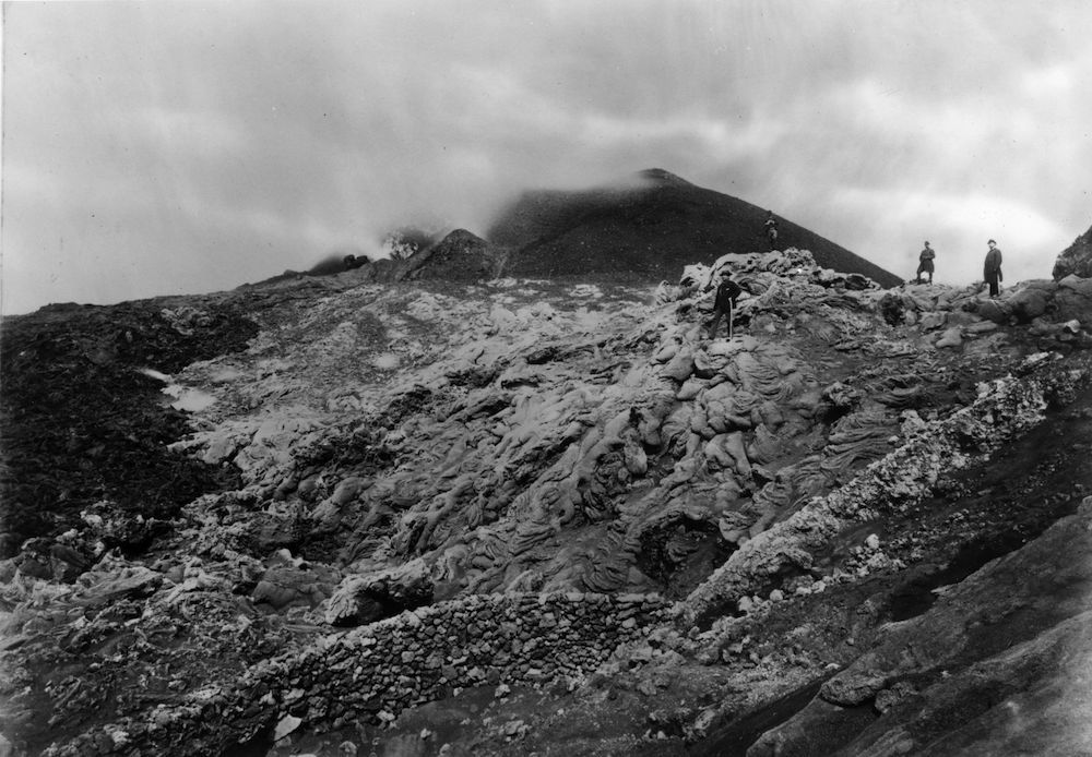 April 1885: The volcanic eruption of Mount Vesuvius. (Photo by HultonArchive/Illustrated London News/Getty Images)